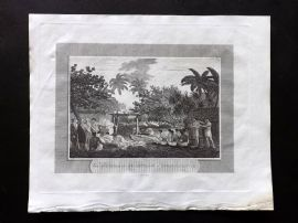 Pelham 1820 Antique Print. Morai in Otaheite with a Human Sacrifice. Pacific